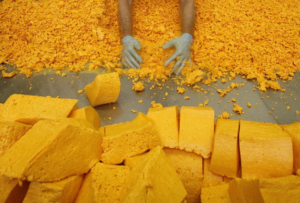 Cheesemaker David Clarke separates the curds and whey to make Red Leicester cheese at Sparkenhoe Farm in Upton, central England October 8, 2007. Red Leicester cheese had not been made in Leicestershire since 1956 until Clarke started producing his traditional, unpasteurised cloth-bound cheese using milk from his 150 pedigree Holstein Fresian cows.  REUTERS/Darren Staples   (BRITAIN) - RTR1UPZD